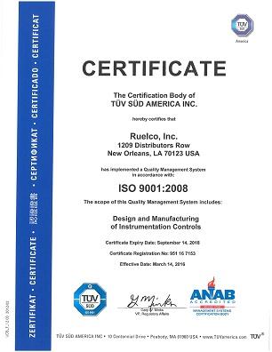 2016-0331 Ruelco Inc ISO 9001 2008 Certificate