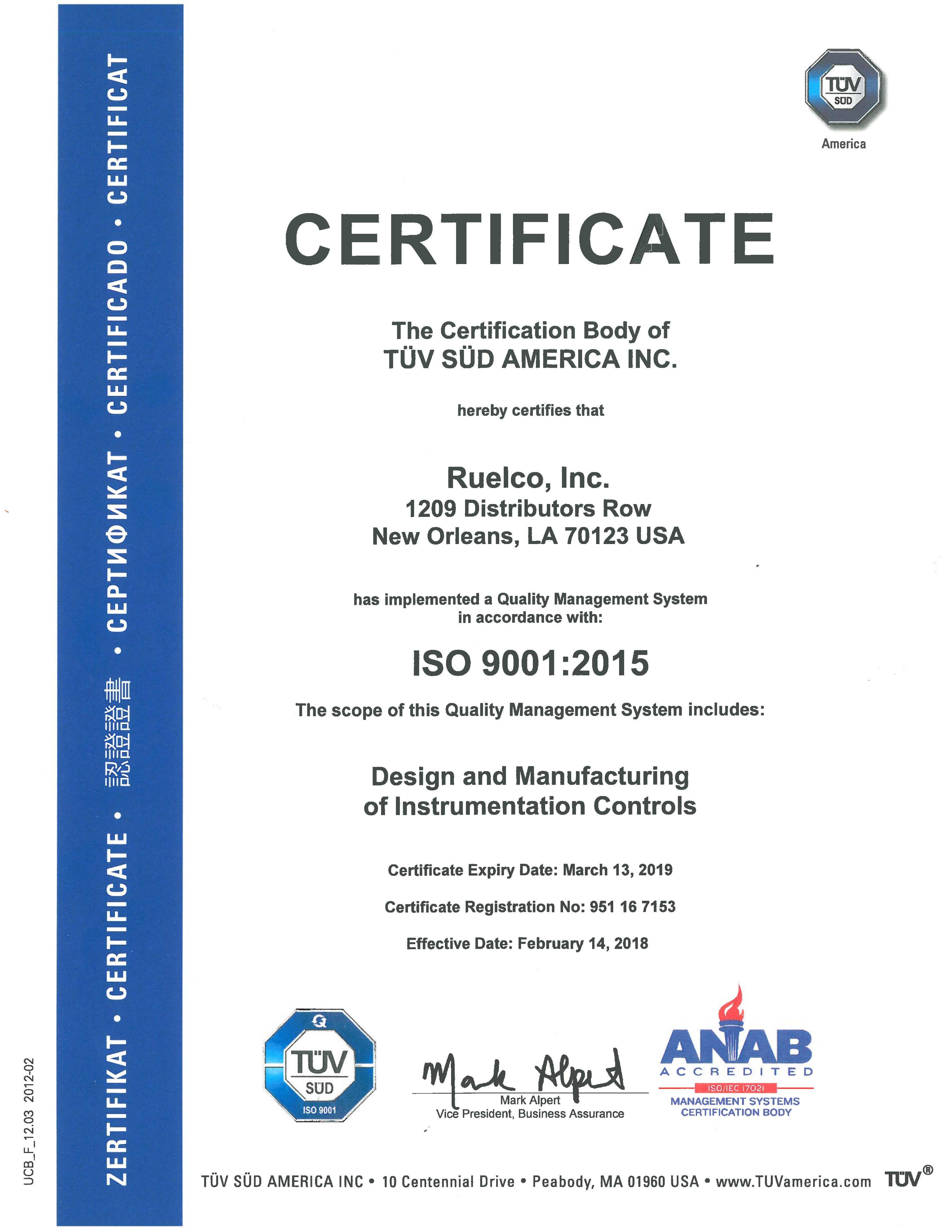 Ruelco ISO 9001:2015 Certificate
